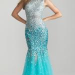 Mavi Abiye Balık Etekli Elbise