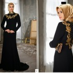 Siyah İşlemeli Tesettür Elbise