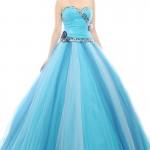 açık mavi uzun prenses elbise