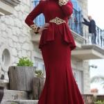 bordo osmanlı motifli minel aşk abiye