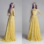 dantel sarı abiye uzun