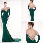 derin sırt dekolteli yeşil uzun elbise