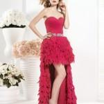 kırmızı püskül balon etek elbise