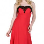 kırmızı straplez mini elbise
