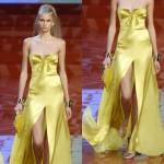 parlak saten uzun sarı abiye