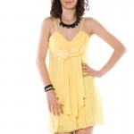 sarı gül detaylı mini elbise