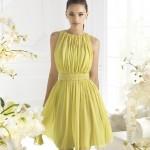 sarı kısa pileli elbise