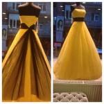 sarı prenses model abiye pullu