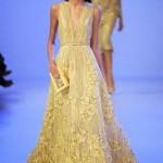 sarı uzun transparan elbise
