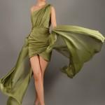 saten mini yeşil elbise tüllü