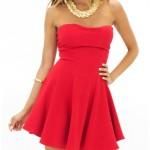 straplez mini kırmızı elbise