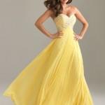 straplez sarı uzun elbise