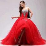tül kırmızı prenses uzun abiye