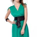 yeşil kısa abiye siyah kemerli