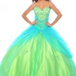 yeşil mavi prenses model abiye