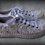 çiçekli incili spor gelin ayakkabısı
