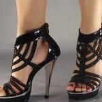 açık desenli abiye ayakkabı modeli