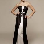 fiyonklu siyah beyaz elbise