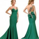 fiyonklu zümrüt yeşil elbise