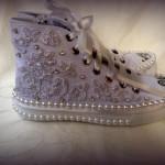 lila taşlı spor gelin ayakkabısı