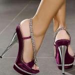 mor parlak abiye ayakkabı modeli
