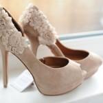 pudra çiçekli gelin ayakkabısı modeli