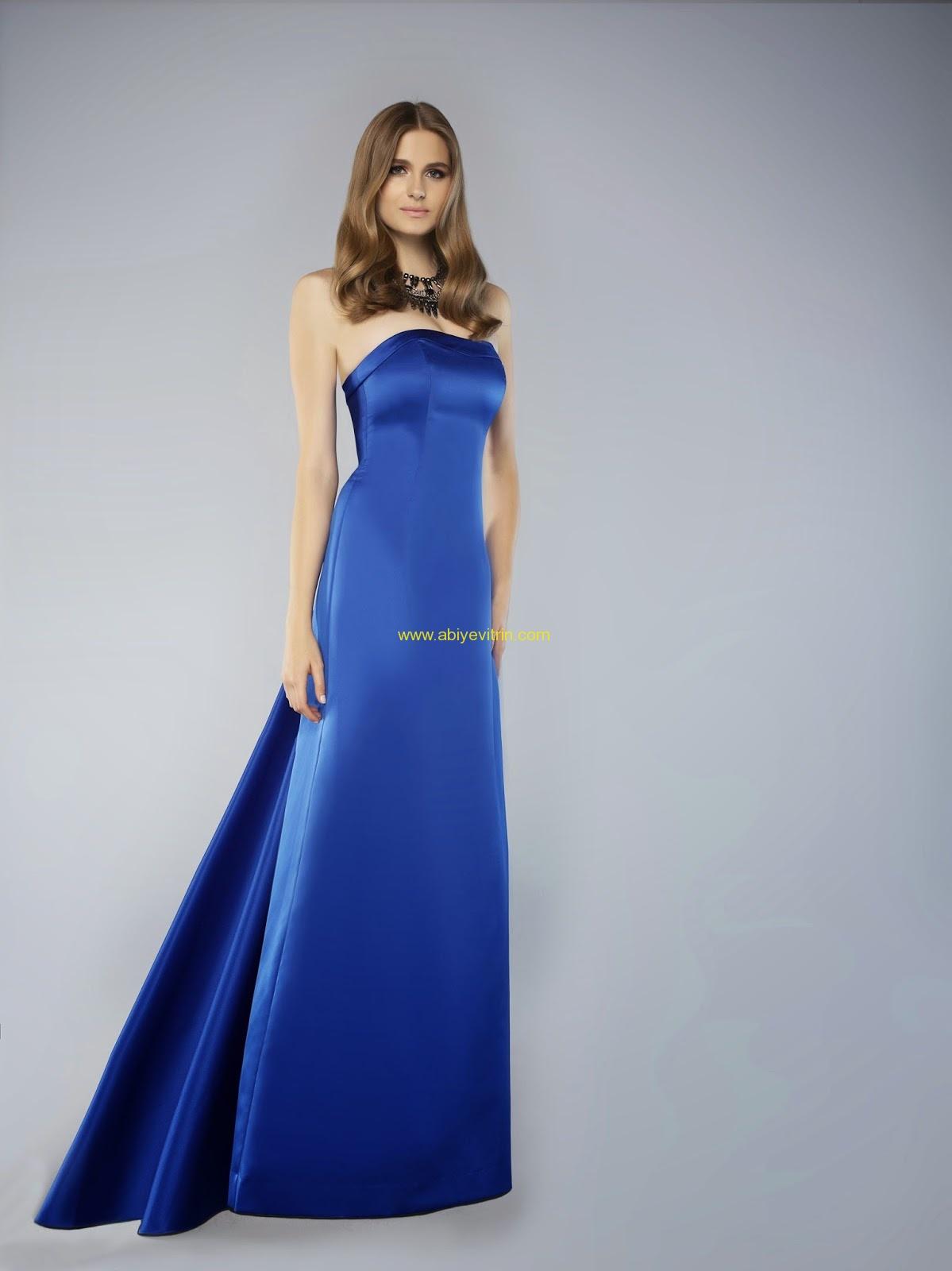 saks mavisi saten elbise