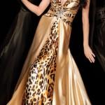 saten detaylı leopar abiye