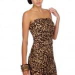 straplez mini leoparlı abiye