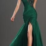 straplez zümrüt yeşil elbise