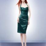 yeşil saten elbise