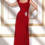 vakko uzun kırmızı abiye modeli