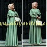 Çağla Yeşili Pelerinli Elbise