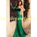 Dantelli Yeşil Kadife Elbise
