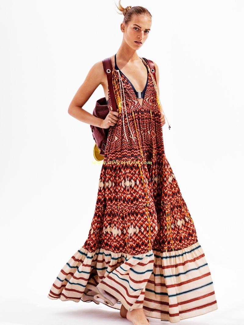 Uzun etnik desenli Bahar ve Yaz elbise modelleri