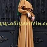 Hardal Pelerin Elbise Modeli