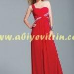 Kırmızı Tek Omuz Abiye Modeli