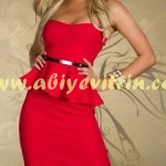 Kemerl Kırmızı Peplum Elbise