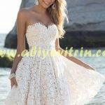 Krem Mini Mezuniyet Elbisesi Modeli