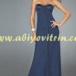 Lacivert Straplez Elbise Modeli