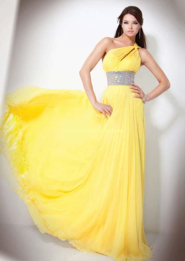 Sarı Tek Omuzlu Abiye Modeli