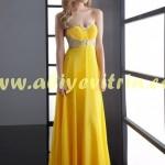Sarı genç kız abiye modelleri
