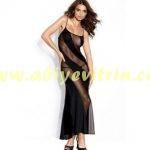 Siyah Uzun Transparan Elbise