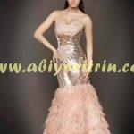 Somon Rengi Abiye Modelleri
