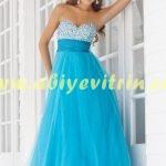 Straplez Mavi Uzun Abiye Elbise