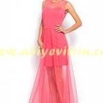 Pembe Tozlu abiye elbise