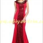 Tozlu Giyim kırmızı abiye elbise