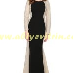 Tozlu hasır detaylı siyah abiye elbise