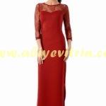 Tozlu kırmızı abiye elbise
