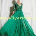 Tozlu yeşil abiye elbise